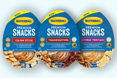 Butterball's PREMIUM SNACKS is a portfolio of high-quality seasoned turkey breast slices paired with unique sweet and savory sides