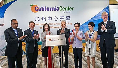 Left to right, Kash Gill, Former Mayor of Yuba City; Brian Peck, Deputy Director of California Governor's Office for Economics Development (Go-Biz), Margaret Wong, Founder & President of California Center; next two, Chinese business and government representatives, Pat Fong Kushida, President & CEO, California Asian Chamber of Commerce; Bill Allen, President & CEO, Los Angeles County Economic Development Corporation