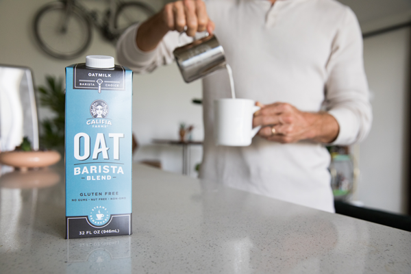Califia's Oat Barista Blend steams beautifully and perfectly pairs with coffee for a great-tasting latte