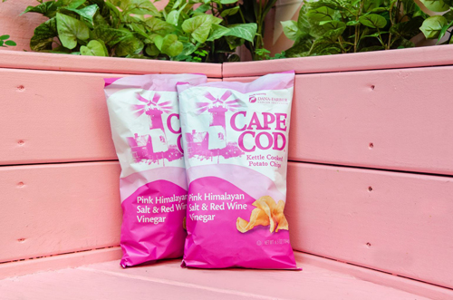 Cape Cod's limited-edition Pink Himalayan Salt & Red Wine Vinegar Potato Chips support the research and treatment of breast cancer