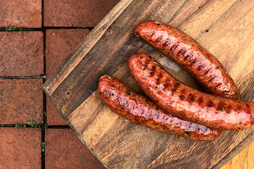Caraway & Kölsch Bratwursts are linked in natural pork casings and are fully cooked