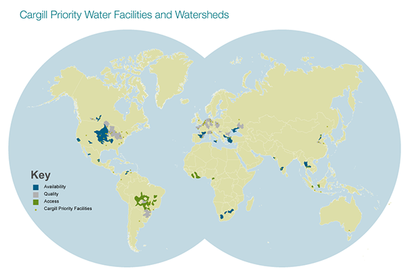 By 2030, Cargill hopes to restore 600 billion liters of water in priority watersheds, as well as achieve sustainable water management systems in all of its operations