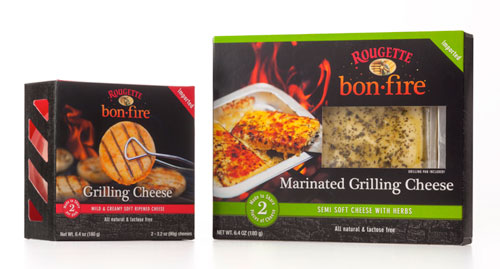 Rougette Bonfire Grilling Cheeses come in two varieties: a mild and creamy soft-ripened cheese and a semi-soft herb marinated cheese