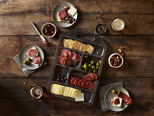The Columbus Charcuterie Tasting Board is ready to serve and provides consumers with a high-quality and great-looking charcuterie board that is perfect for entertaining