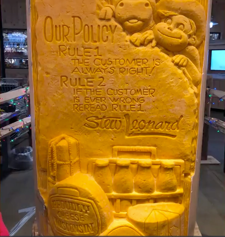 The carving lasted two days and was done in Stew Leonard's newest location in East Meadow, New York