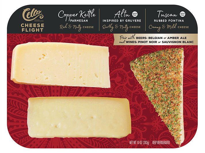 Cello Cheese Flights are wedges of high-quality hard cheese that are curated and displayed on a board