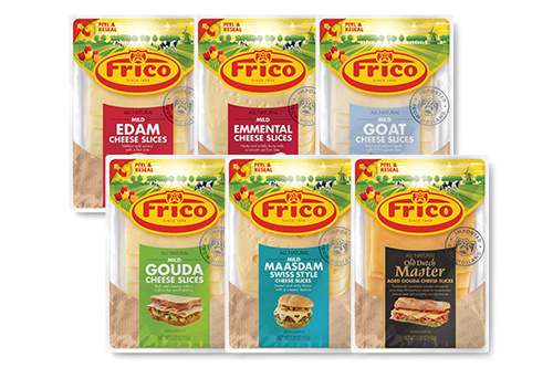 Frico sliced cheeses are packed 12 to a case, available in 5.3 oz packages