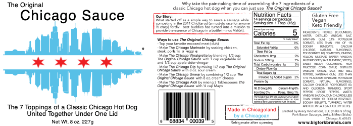 Product specs detail why Big Fork Brands' Chicago Sauce is a must-have item for the buy-side case