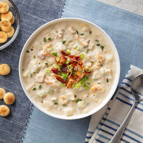 Campbell's Foodservice is expanding its crafted seafood soup sector with Campbell's® Reserve Loaded Clam Chowder packed with onions, smoky applewood uncured bacon, and more clams than a traditional Campbell's chowder