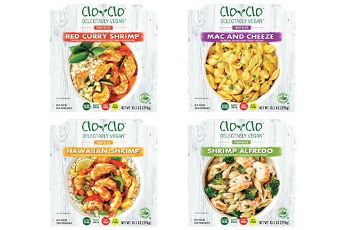CLO-CLO™ Vegan Foods has released its new plant-based shrimp entrée bowls and a mac & cheeze bowl in the frozen department at Sprouts Farmers Market