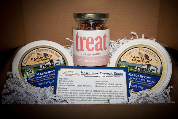 Crave Brothers Farmstead Cheese's new Mascarpone Caramel Sauce with Candied Pecans gift box is priced below $20 and is a great option for consumers with a sweet tooth
