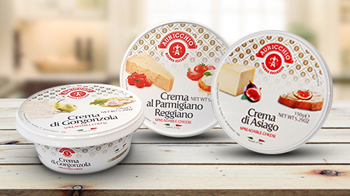 Auricchio crema products available in Paremsan Reggiano, Locatelli, Asiago, and Taleggio flavors