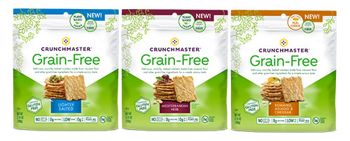 Crunchmaster is kicking off its line of Grain-Free crackers with flavors like Lightly Salted; Mediterranean Herb; and Romano, Asiago & Cheddar