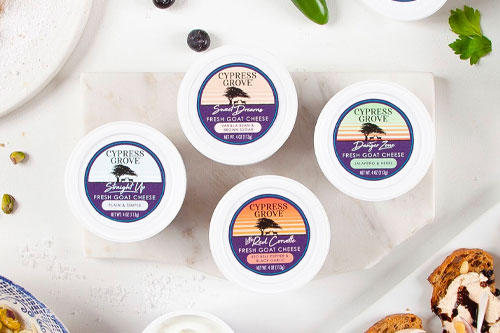 The new Fresh Goat Cheese Cups are available in 4-ounce resealable cups in packs of 12 and are offered at an accessible MSRP of $4.99 to allow new and existing consumers to try Cypress Grove
