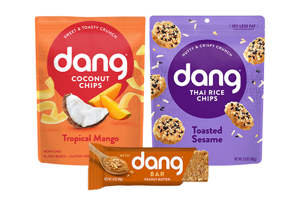 Dang Foods is introducing three new flavors: Tropical Mango Coconut Chips, Toasted Sesame Thai Rice Chips, and a Peanut Butter Dang Bar