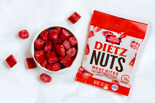 "Dietz & Watson is touting the first ""meat nut"" snack, a protein-packed savory sausage bite, on the market"