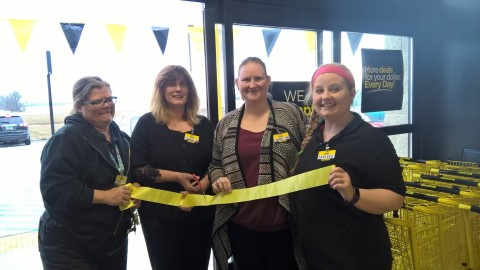 Dollar General employees in Hankinson, North Dakota, celebrate the store's grand opening
