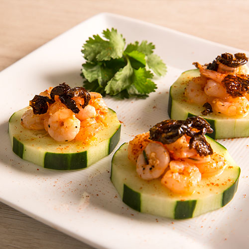 Chile Crisp on Shrimp and Cucumbers