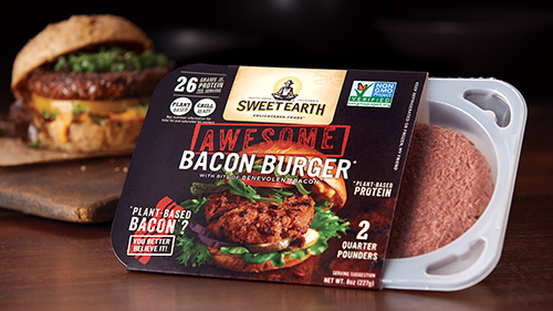 Sweet Earth Foods' new Awesome Bacon Burger is deliciously smoky and infused with the brand's Beloved Bacon bits