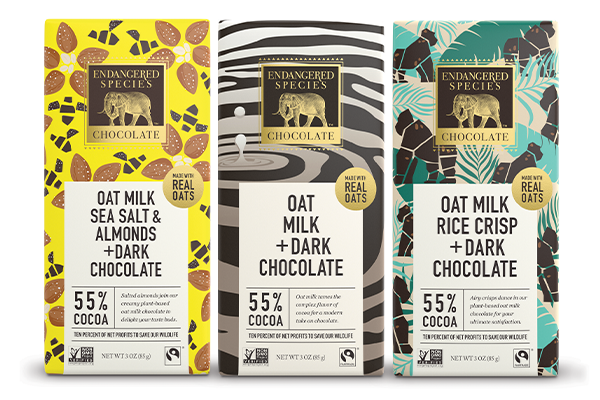 Each of the bars made by Endangered Species Chocolate represents an endangered animal
