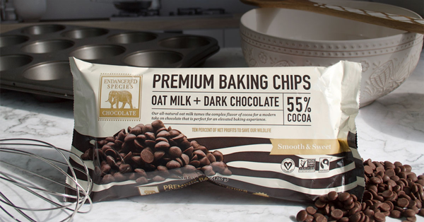 Endangered Species Chocolate (ESC), is launching the first plant-based milk chocolate chip, which will be available this month at Whole Foods Market stores, additional retailers nationwide, and online