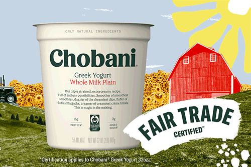Chobani is teaming up with Fair Trade USA® to launch a groundbreaking certification program for U.S. dairy farms and cooperatives