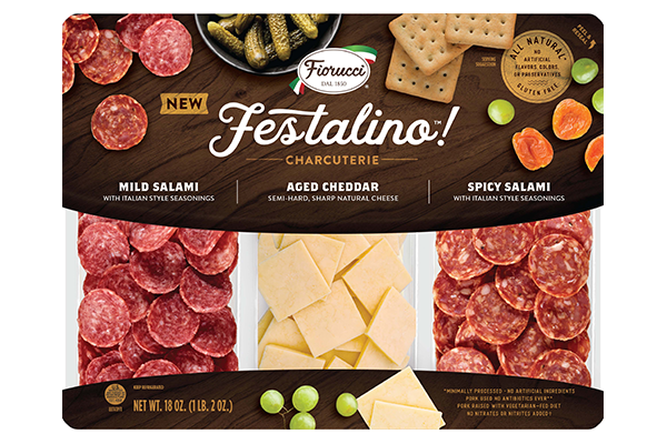 The Festalino Charcuterie board features an assortment of mild and spicy salami slices along with aged cheddar slices