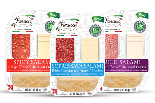 Fiorucci has introduced Salami, Cheese, and Artisanal Cracker Snack Packs