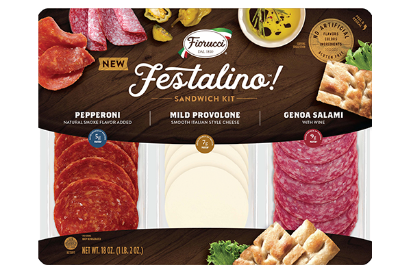 The Festalino Sandwich Kit features an assortment of sliced pepperoni, mild provolone cheese, and genoa salami