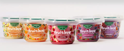 Fruitlove spoonable smoothies combine the health benefits of creamy yogurt with real fruits and vegetables