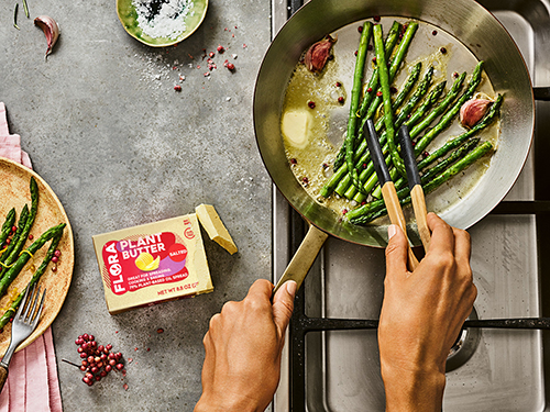 Flora™, the new plant-based butter from Upfield touts the taste and texture of traditional butter, offering a perfect substitute