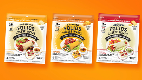 Folios Cheese Wraps are made with 100 percent cheese and are naturally lactose and gluten-free
