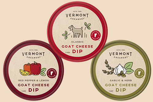 Vermont Creamery keeps innovation moving with its new goat cheese dip, available in Classic, Red Pepper and Lemon, and Garlic and Herb