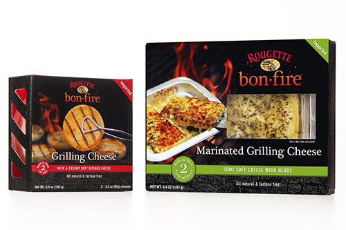 The packaging of the Rougette Bonfire line showcases how to use the cheeses