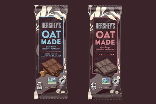 To meet the rise in plant-based demand, Hershey's has added new vegan chocolate bars made with oat milk to its portfolio (Photo credit: Hershey's/Target)