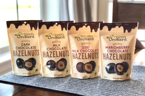 At the beginning of March, Hazelnut Growers of Oregon began shipping Dark Chocolate, Milk Chocolate, Skinny Milk Chocolate (20 percent less chocolate), and Marionberry Chocolate