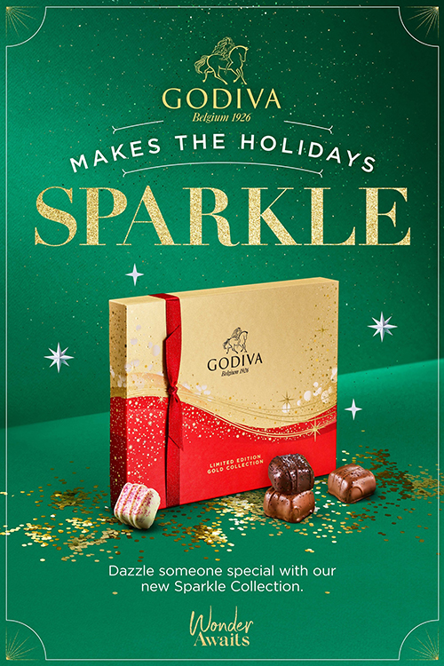 GODIVA recently launched its Holiday Collection which includes new Sparkle Collection chocolates