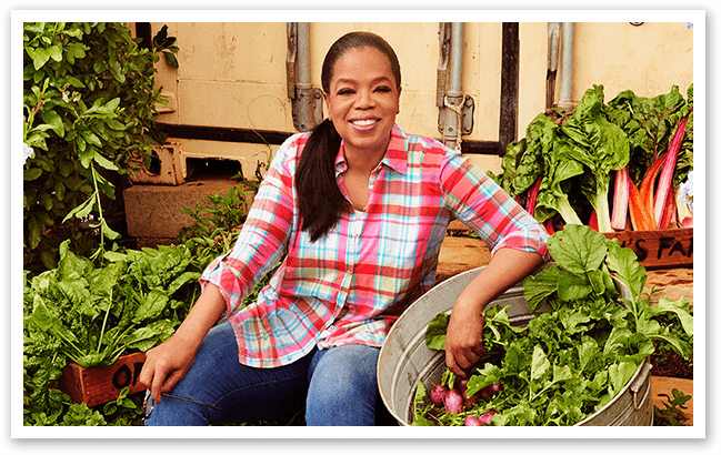 Oprah in her home garden