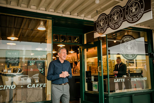 Howard Schultz at Starbucks' original Pike Place Market location