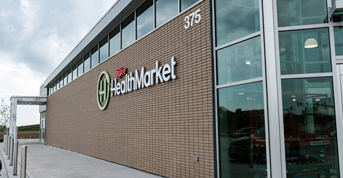 Riding the wave of the consumer-driven health craze, the HealthMarket banner features in-store health clinics, pharmacies, and fitness studios