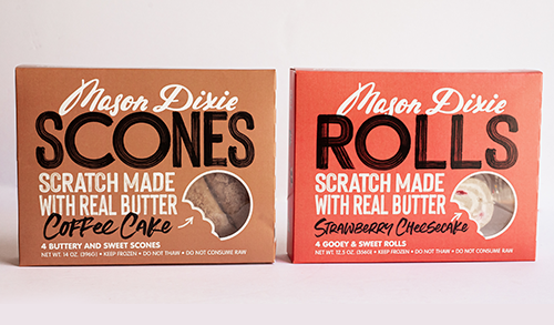 The new products, Mason Dixie Scones and Sweet Rolls, join Mason Dixie's current biscuit line