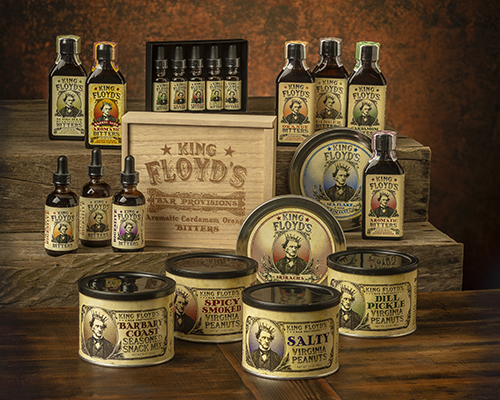 King Floyd's offers a variety of bar-forward and complementary products, including bitters, peanuts, and flavored salts and sugar—all available in eye-catching packaging