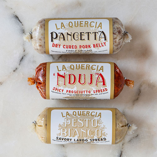 La Quercia Spreads - Dry Cured Pork Belly, Spicy Prosciutto Spread, Savory Lardo Spread