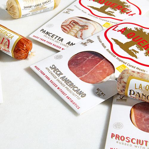 La Quercia Meats and Spreads - Speck Americano, Pancetta Americano, Prosciutto Piccante, Spicy Prosciutto Spread, and Savory Lardo Spread
