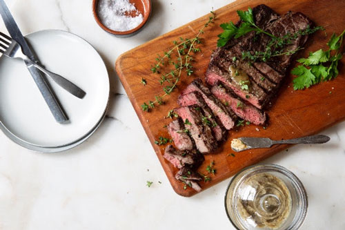 Pesto Bianco is delicious to spread on a steak