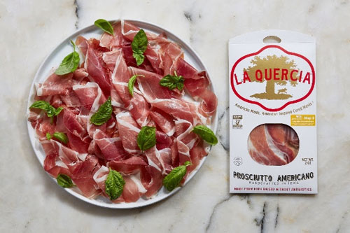 La Quercia, maker of hand-crafted cured meats, recently announced that its pre-sliced Americano prosciuttos are now made with non-GMO pork