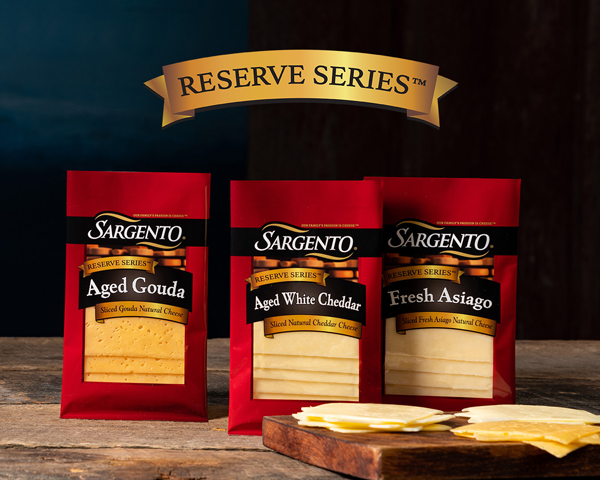 Sargento Foods is expanding its Reserve Series™ product line to include savory, rich flavors like Fresh Asiago, Aged Gouda, and Aged White Cheddar