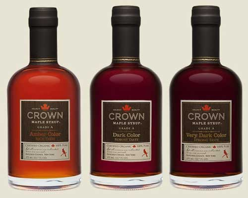 Crown Maple Syrup: Amber Color Rich Taste, Dark Color Robust Taste, Very Dark Color Strong Taste