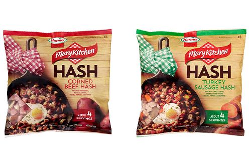 The new frozen hash products will come in two varieties—a traditional corned beef hash and a turkey sausage sweet potato hash