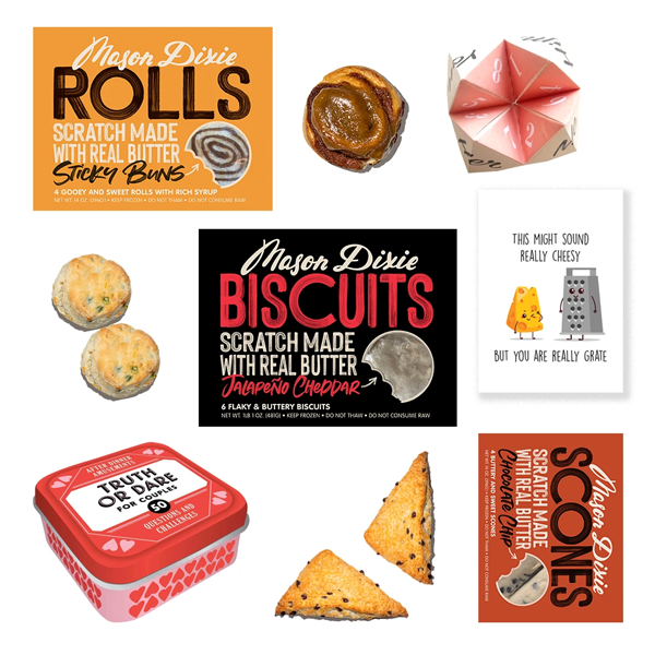 Each package is specially curated with unique and exciting components ranging from the company's signature scratch-made products to specialty snacks and meats, such as Mason Dixie's Valentine's Day Bundle